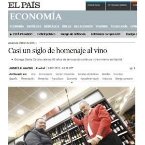 Casi un siglo de homenaje al vino - El País (Diciembre 2012)
