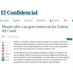 Mozart sabe a un gran reserva en los Teatros del Canal  - El Confidencial (Febrero 2014)