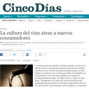 La cultura del vino atrae a nuevos consumidores  - Cinco Días (Marzo 2013)